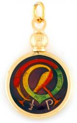 Hand Painted Ireland 1/2 Penny Celtic Bird Pendant