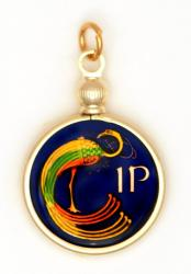Hand Painted Ireland 1 Penny Celtic Bird Pendant