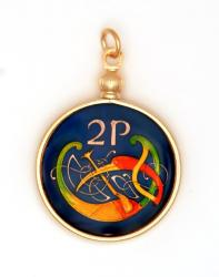 Hand Painted Ireland 2 Pence Celtic Bird Pendant