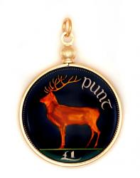 Hand Painted Ireland 1 Pound Elk Pendant