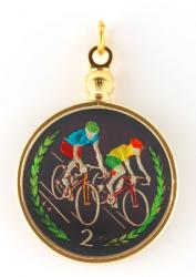Hand Painted Isle of Man 2 Pence Bicyclists Pendant