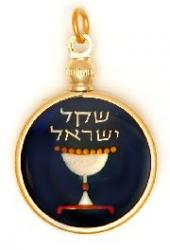 Hand Painted Israel 1 Sheqel Chalice Kiddush Cup Pendant