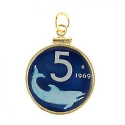 Hand Painted Italy 5 Lire Shark Pendant