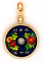 Hand Painted Japan 100 Yen Cherry Blossoms Pendant