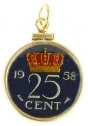 Hand Painted Netherlands 25 Cent Crowned Value Pendant
