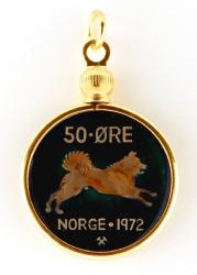 Hand Painted Norway 50 Ore Dog Pendant