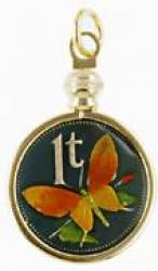 Hand Painted Papa New Guinea 1 Toea Butterfly Pendant