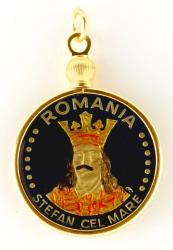 Hand Painted Romania 20 Lei King & Crown Pendant