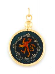 Hand Painted Scotland 1 Pound Scottish Lion Pendant