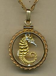 Gold on Silver Singapore 10 Cent Sea Horse and Sea Weed Cut Coin Necklace
