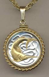 Gold on Silver Singapore 20 Cent Swordfish Necklace