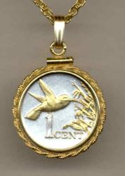 Gold on Silver Trinidad and Tobago 1 Cent Hummingbird Necklace