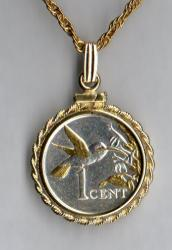 Gold and Silver on Silver Trinidad and Tobago 1 Cent Hummingbird Necklace