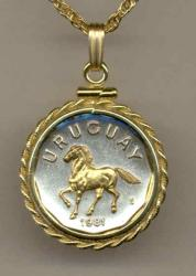 Gold on Silver Uruguay 10 Centesimos Horse Necklace