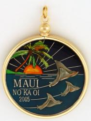 Hand Painted Maui Stingray Medallion Pendant