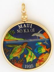 Hand Painted Maui Fish and Turtle Medallion Pendant