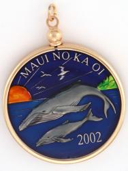 Hand Painted Maui Two Whales Medallion Pendant