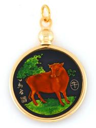 Hand Painted Chinese Year of the Ox Pendant (1925, 1937, 1949, 1961, 1973, 1985, 1997, 2009)