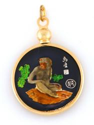 Hand Painted Chinese Year of the Monkey Pendant (1932, 1944, 1956, 1968, 1980, 1992, 2004, 2016)