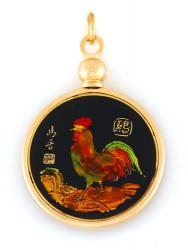 Hand Painted Chinese Year of the Rooster Pendant (1933, 1945, 1957, 1969, 1981, 1993, 2005, 2017)