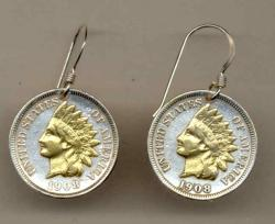 Gold on Silver Indian Head Cent Earrings
