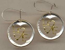 Gold on Silver Roosevelt Dime LOVE Cut Coin Earrings