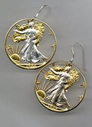 Gold on Silver Walking Liberty Half Dollar (Obv)Cut Coin Earrings