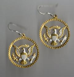 Gold on Silver Kennedy Half Dollar (Eagle with Rim) Cut Coin Earrings