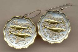 Gold on Silver Bahamas 10 Cent Bone Fish Earrings