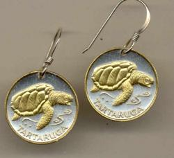 Gold on Silver Cape Verde 1 Escudos Sea Turtle  Earrings