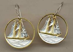 Gold on Silver Cayman Islands 25 Cent Sail Boat Cut Coin Earrings