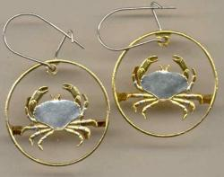 Gold on Silver Guernsey 1 Penny Crab Cut Coin Earrings