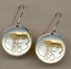 Gold on Silver Iceland 50 Aurar Shrimp Earrings
