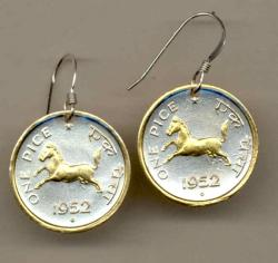 Gold on Silver India 1 Pice Horse Earrings