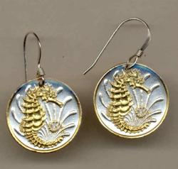 Gold on Silver Singapore 10 Cent Sea Horse and Sea Weed Earrings