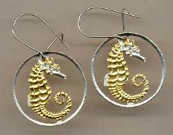 Gold on Silver Singapore 10 Cent Sea Horse and Sea Weed Cut Coin Earrings