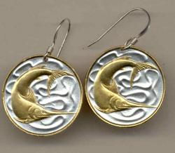 Gold on Silver Singapore 20 Cent Swordfish Earrings