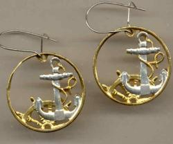 Gold on Silver Spain 50 Centimes Anchor and Wheel Cut Coin Earrings