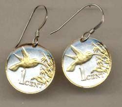 Gold on Silver Trinidad and Tobago 1 Cent Hummingbird Earrings