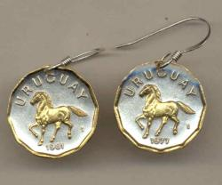 Gold on Silver Uruguay 10 Centesimos Horse Earrings