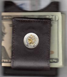 Gold and Silver on Silver Indian Head Cent Folding Money Clip