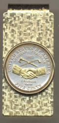 Gold on Silver Jefferson Nickel Peace Medal Hinge Money Clip