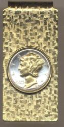 Gold on Silver Mercury Dime Hinge Money Clip