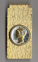 Gold and Silver on Silver Mercury Dime Hinge Money Clip