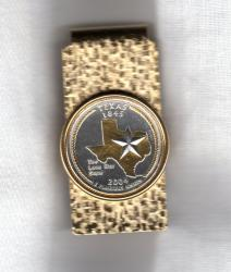 Gold on Silver Texas State Quarter Hinge Money Clip