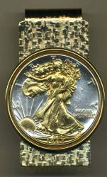 Gold on Silver Walking Liberty Half Dollar (Obv) Hinge Money Clip