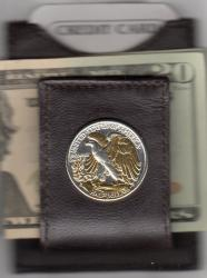 Gold and Silver on Silver Walking Liberty Half Dollar (Rev) Folding Money Clip