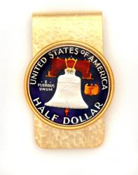 Hand Painted Franklin Half Dollar (Reverse) Money Clip