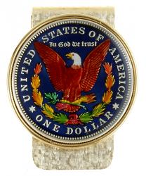 Hand Painted Morgan Dollar (Reverse) Money Clip