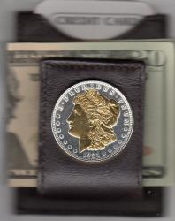 Gold on Silver Morgan Dollar (Obv) Folding Money Clip